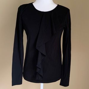 Ann Taylor Loft ruffle black long sleeve top, Sz S